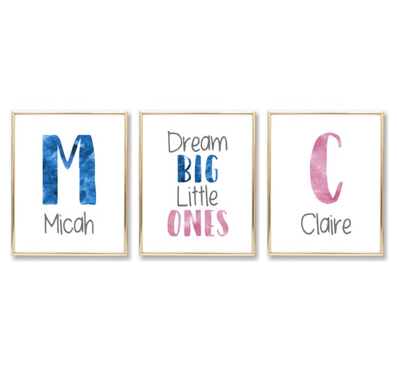Custom Name Nursery Decor Boy Girl Dream Big Little Ones Printable Prints Twins Digital Wall Art Personalized Names Blue and Pink Children's