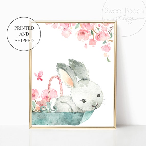 Bunny Nursery Decor Rabbit Wall Art Floral Woodland Animal Prints Set Cute Framed Decoration Girls Child Kid Watercolor Painting Forest Art