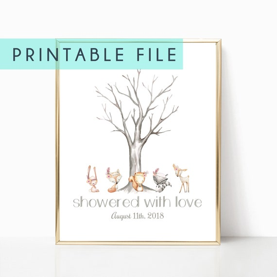 Fingerprint Tree Guest Book Sign Baby Shower Sign Display Poster Floral Printable Digital Woodland Baby Showers Decorations Decor Animal