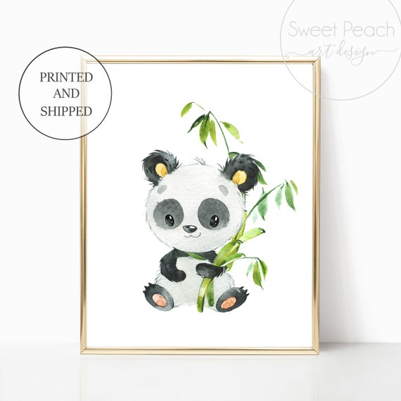 Panda Nursery Wall Art Safari Jungle Decor Zoo Animal Art Prints Cute Art Print Framed Print Bamboo China Panda Bear Boy Girl Gender Neutral