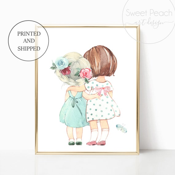 Sister Nursery Decor Wall Art Print Set Mint Flower Floral Matching Sets of 3 Girl Rain Boots Sister Set Flower Bouquet Best Friend Sisterly