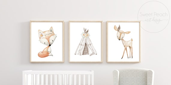 Woodland Nursery Decor Boho Floral Wall Art Printed Prints Set Cute Animals Fox Deer Teepee Feather Tipi Unframed Framed Gender Neutral Arts