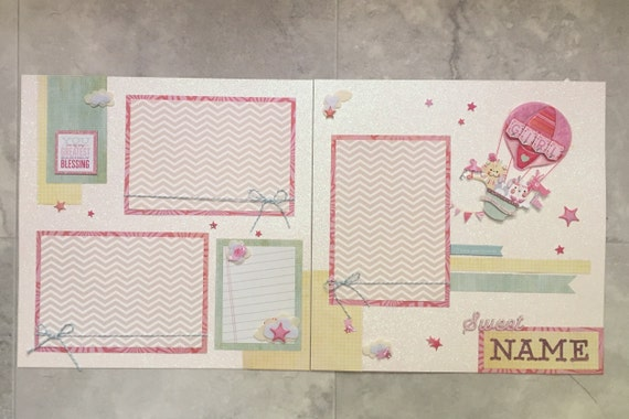 Girl Scrapbook Page Baby Scrapbooking Layout Pages Gold Pink Etsy