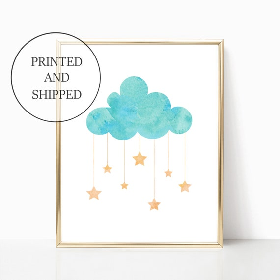 Nursery Decor Cloud Stars Wall Art Girl Boy Room Prints Set Print Unframed Matching Sets Little Kid Poster 11 x 14 8 x 10 Nursery Watercolor