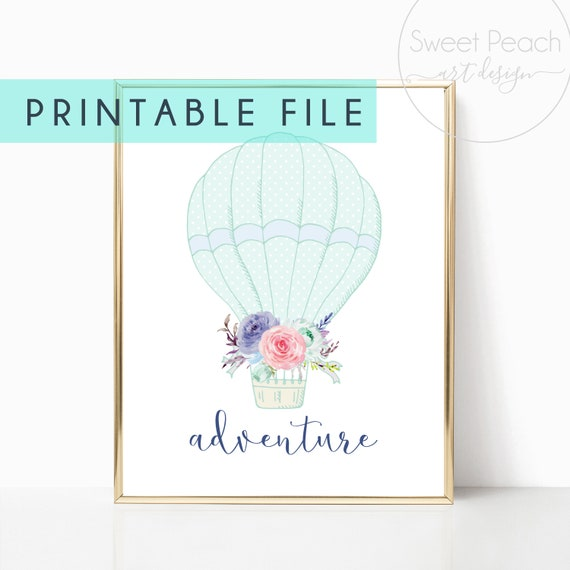 Hot Air Balloon Girl Nursery Decor Adventure Wall Art Print Download Printable Downloadable Prints Baby Room Watercolor Gallery Poster Pink