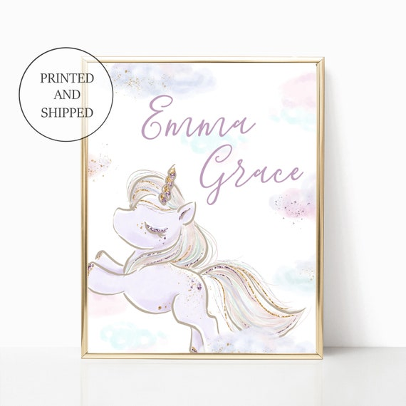 Unicorn Nursery Decor Moon Cloud Girl Print Wall Art Girl Room Frame Matching Sets Little Girls Nursery Art Clouds Pastel Custom Name Print