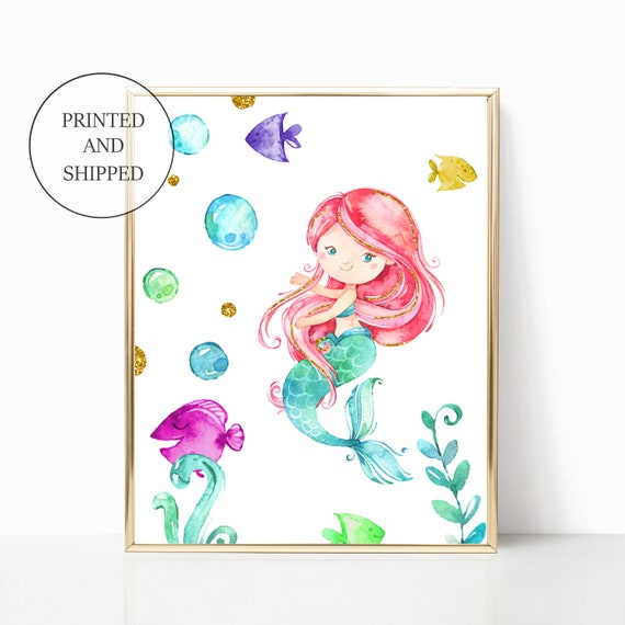 Mermaid Nursery Decor Gold Ocean Sea Girl Wall Art Printed Prints Set Framed Print Unicorns Are Real Mermaids Told Me Sea Ocean Cloud Gold