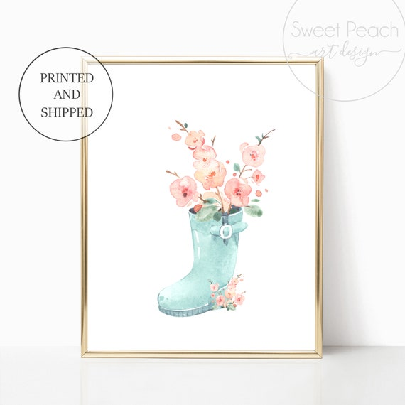 Blue Rainboot Girl Nursery Decor Wall Art Print Set Mint Flower Floral Matching Sets of 3 Girl Set Flower Bouquet Basket Whimsical Rainbow