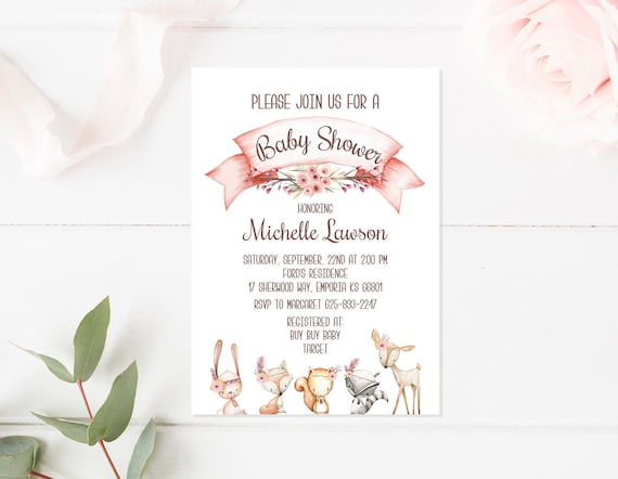 Printed Baby Shower Invitation Woodland Invites Girl Nursery Fox Animal Wall Art Prints Set Animal Little Boy Girls Woodland Theme Set Party