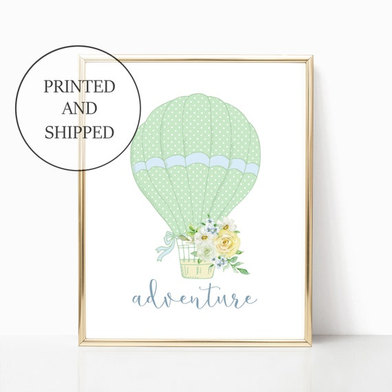 Hot Air Balloon Boy Nursery Wall Art Prints Printed Adventure Set Decor Cute Art Print Framed Matching Sets Boys Nursery Baby Shower Room