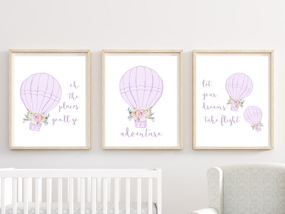 Hot Air Balloon Girl Nursery Wall Art Printed Decor Prints Set Purple Print Framed Matching Sets of 3 Adventure Oh The Places You 11 x 14