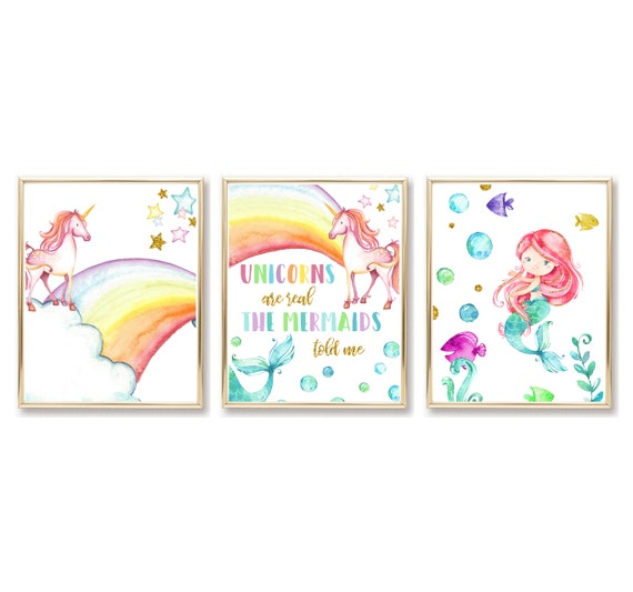 Unicorn Mermaid Nursery Decor Gold Rainbow Girl Wall Art Printed Prints Set Framed Print Unicorns Are Real Mermaids Told Me Sea Ocean Cloud