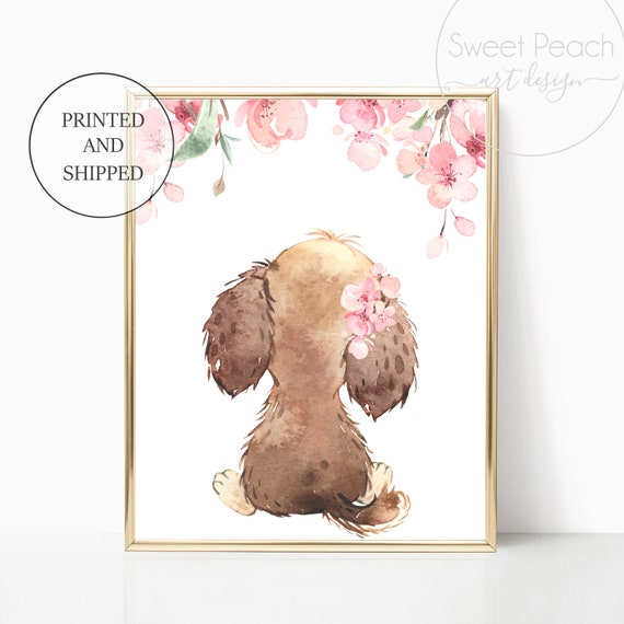 Puppy Nursery Decor Wall Art Dog Floral Farm Home Animal Wall Art Prints Set Cute Framed Decoration Girls Best Friend Watercolor Child Kid