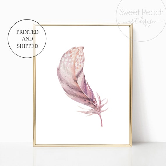 Boho Feather Nursery Floral Decor Safari Zoo Animal Wall Art Prints Set Cute Art Print Framed Africa Bohemian Print Decoration Flower Purple
