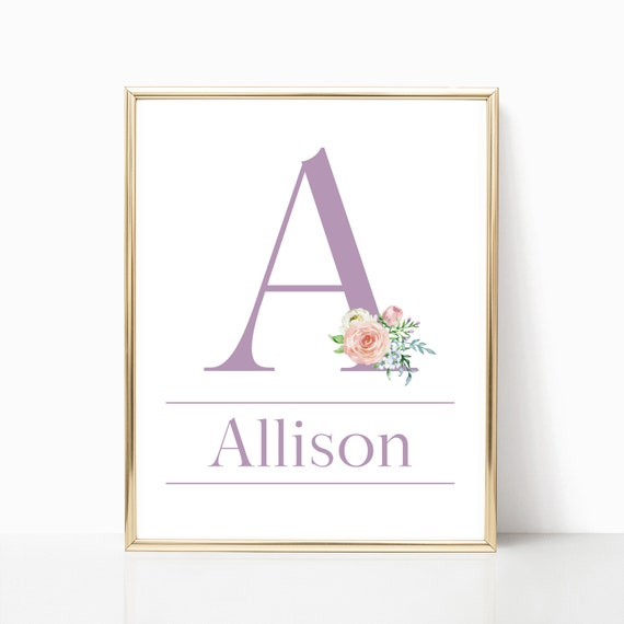 Girl Nursery Decor Custom Initial Letter Wall Art Printable Watercolor Flower Download Print Prints Baby Girl Room Personalized Girls Arts