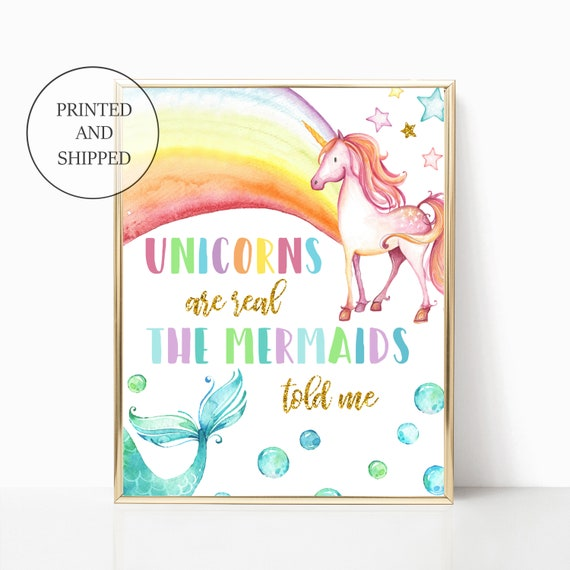 Unicorn Mermaid Nursery Decor Gold Rainbows Girl Wall Art Printed Prints Set Framed Print Unicorns Are Real Mermaids Told Me Sea Ocean Cloud