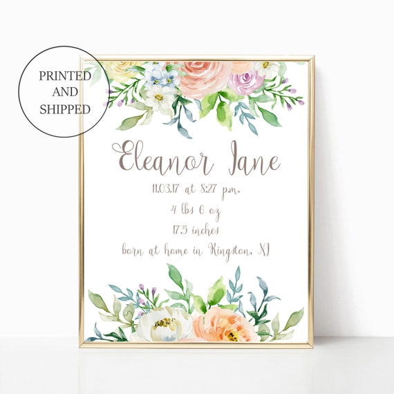 Birth Announcement Nursery Print Floral Stats Decor Birth Announcement Newborn Wall Art Prints Set Framed Matching Girl's Watercolor Floral