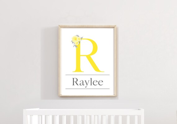 Girl Name Nursery Decor Custom Letter Initial Print Wall Art Personalized Printable Watercolor Flower Download Baby Girls Room Shower Gifts