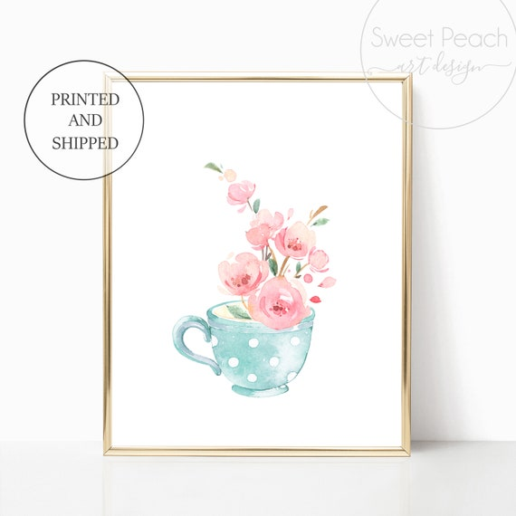 Tea Cup Girl Nursery Decor Wall Art Print Set Mint Flower Floral Matching Sets of 3 Girl Set Flower Bouquet Basket Whimsical Tea Party Art