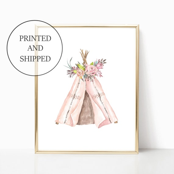 Girl Nursery Wall Art Tribal Pink Prints Tipi Boho Teepee Set Decor Cute Art Print Framed Baby Girls Nursery Baby Shower Woodland Nursery