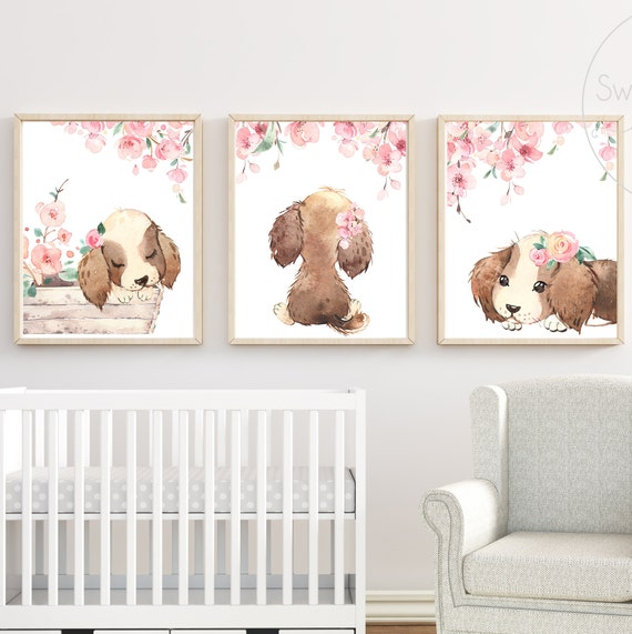 Puppy Dog Nursery Decor Wall Art Print Flower Floral Matching Sets of 3 Girl Watercolor Painting Baby Girl Room Decoration Little Girl Arts
