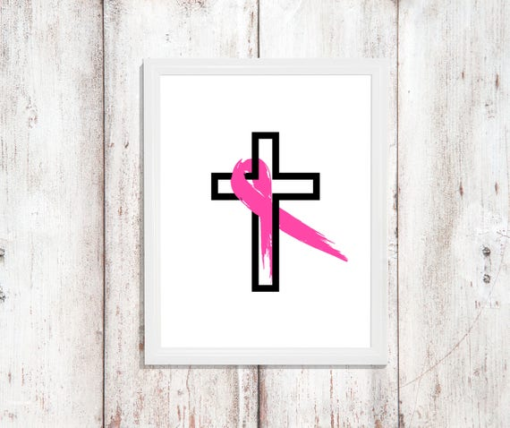 Cancer Awareness Ribbon Cross Gift Cancer Survivor Ribbon Digital Printable Instant Download Wall Art Download Decor Breast Cancer Chemo Day