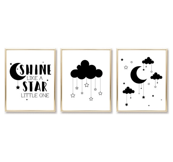 Cloud Nursery Decor Star Moon Hanging Stars Decor Printable Prints Print Art Digital Wall Baby Room Baby Shower Gifts Black White Minimalist