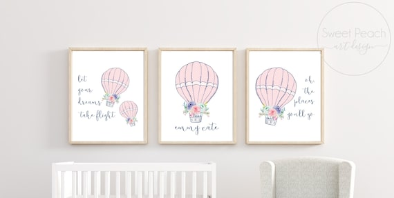 Hot Air Balloon Nursery Decor Navy Mint Pink Print Wall Art Girl Room Frame Art Pastel Custom Name Dreams Take Flight Oh Places You'll Go