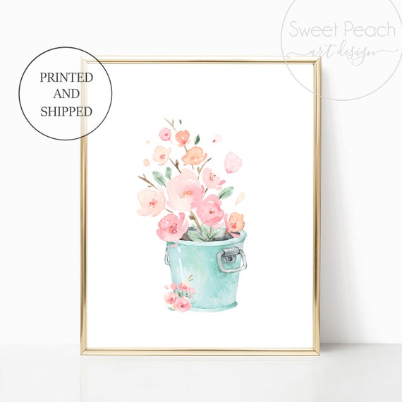 Bucket Girl Nursery Decor Wall Art Print Set Mint Flower Floral Matching Sets of 3 Girl Set Flower Bouquet Basket Whimsical Bucket Party Art