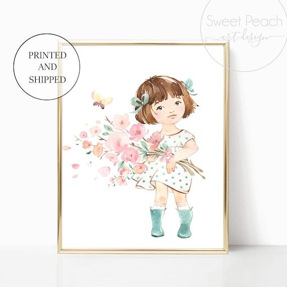 Girl Nursery Decor Wall Art Print Set Mint Flower Floral Matching Sets of 3 Girl Rain Boots Sister Set Flower Bouquet Best Friend Sisterly