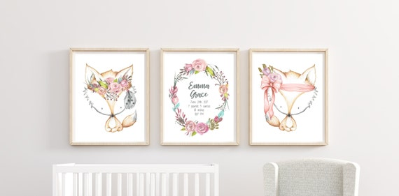 Woodland Fox Nursery Decor Boho Girl Floral Wall Art Birth Announcement Printed Prints Set Cute Animal Fox Baby Stats Unframed Newborn Info