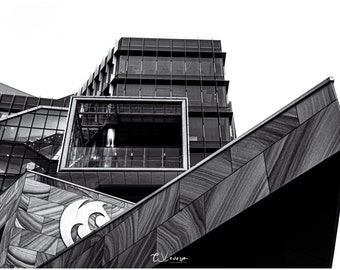 NUspace Building, Newcastle - original black and white photograph
