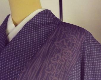 WASHABLE summer ro-kimono 161cm polyester mesh purplish navy flower IRIS