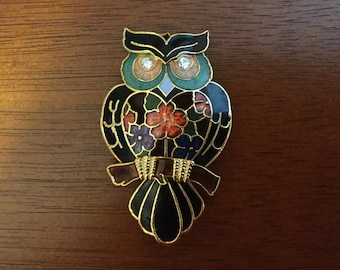 Enamel and gold tone owl brooch