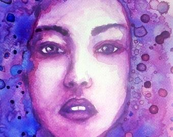 Watercolor portrait print - female aquarelle portrait print, abstract woman portrait print, beauty painting print, abstract art gift