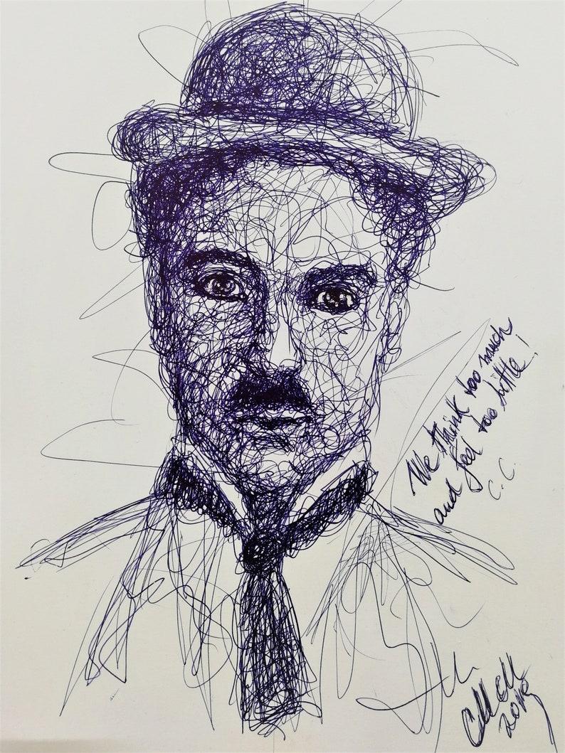 ddf2e117dd5e0 Charlie Chaplin Custom blue line sketch art