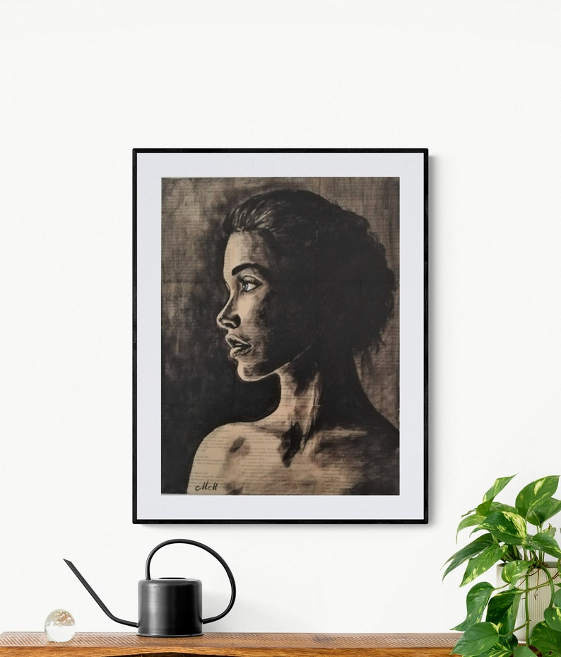 mixed media portrait wall art Alone portrait of a woman