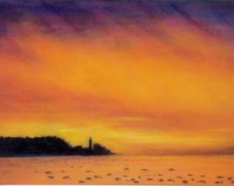 Sunset painting, original pastel painting of Piran, Slovenia, landscape painting, pastel art, landscape art, Home living art, sea sunset
