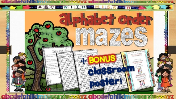 Back To School ABC Order Mazes-Classroom Worksheets Assessment Etsy