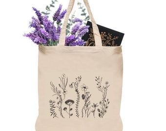 703b2dd9d556 Canvas Tote Bag - Wildflower Tote Bag - Cotton Reusable Shopping Bag