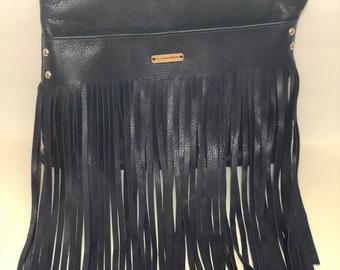 Navy Blue Fringe Bag