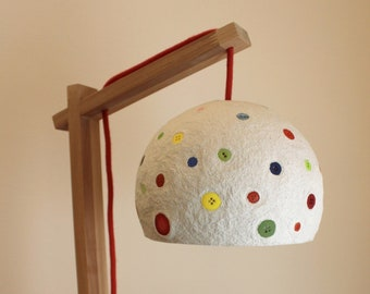 Handmade bedside lamp made of paper mache, buttons and wood - wooden desk lamp - handcrafted decorative lamp - eco friendly lamp