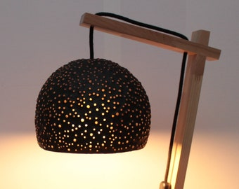 Handmade bedside lamp made of paper mache, glass and wood - black/golden lampshade - handcrafted decorative lamp - eco friendly desk lamp