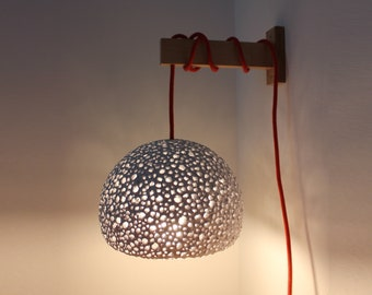 """Paper Mache Wall Lamp - white wall lamp - 21cm/8.3"""" lampshade diameter - textile electric cord - plug in wall lamp - bed lamp - sconce"""