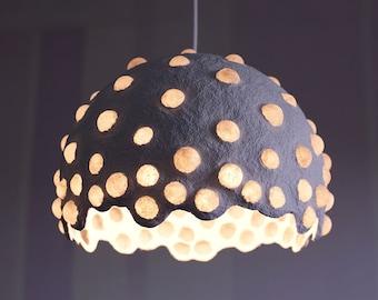 Paper mache pendant light - white recycled paper lampshade - paper pulp light - translucent paper light - hanging lamp - 30 cm/12'' diameter