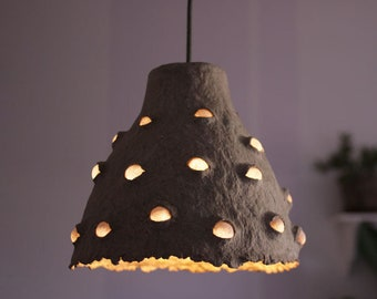 Paper mache pendant light - recycled paper lampshade - eco-friendly - paper pulp lamp - ceiling lamp - hanging lamp