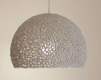 Paper mache pendant light - recycled white paper lampshade - paper pulp light - hanging lamp - eco friendly light - 30 cm/12 inches diameter