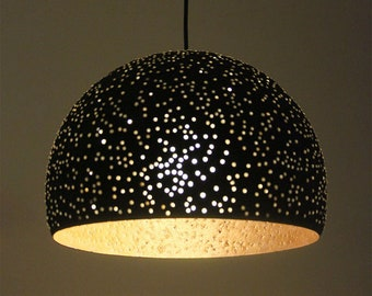 Black and gold/silver painted paper mache pendant light with glass beads - recycled paper shade -  hanging light - 30 cm/12 inches diameter