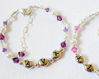 Baby Bracelet - Baby Name Bracelet - Baby Girl -  Baptism Gift - Baby Gift - Newborn