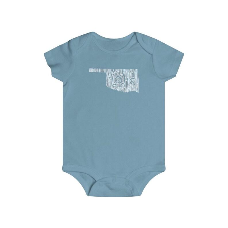Oklahoma Woodgrain Home State Baby Bodysuit